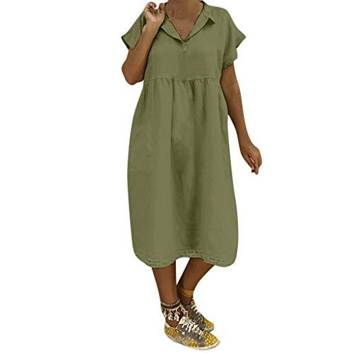 VEMOW Leinenkleider Damen 2019 Summer Solide Dress Leichte Sommerkleider Elegante Damenmode Umlegekragen Sommer Kurzarm Lose Lässige Alltagskleidung Kleider Für Mollige Frauen(Grün, 50 DE / 5XL CN)