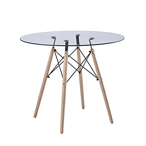 nozama Round Glass Dining Table Modern Dining Room Table with Wood Legs (Round_Glass Clear)