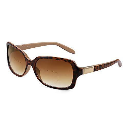 occhiali da sole bifocali JM Classic Occhiali da Lettura Bifocali Quadrati Eleganti Occhiali da Sole Gradiente Lettori per Donna +3.0 Tartaruga