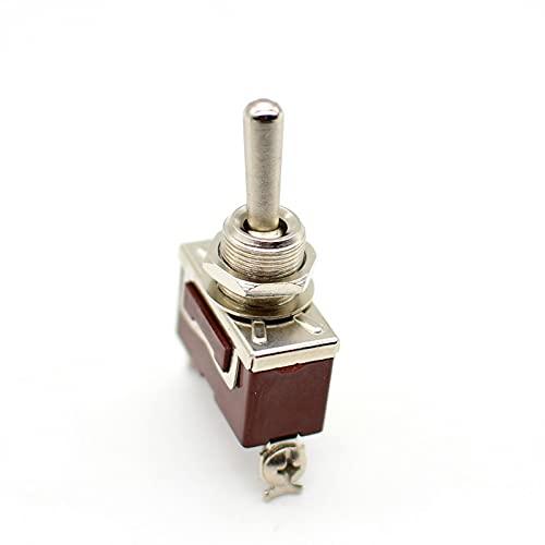 PJDOOJAE 1GANG 1WAY ROCKER Switch Interruptor de palanca, lanzamiento individual de un solo polo, 2 ampere 220 VCA, boton Power Swing Toggle Control doble Accesorios de iluminación DIY Lámpara de lató