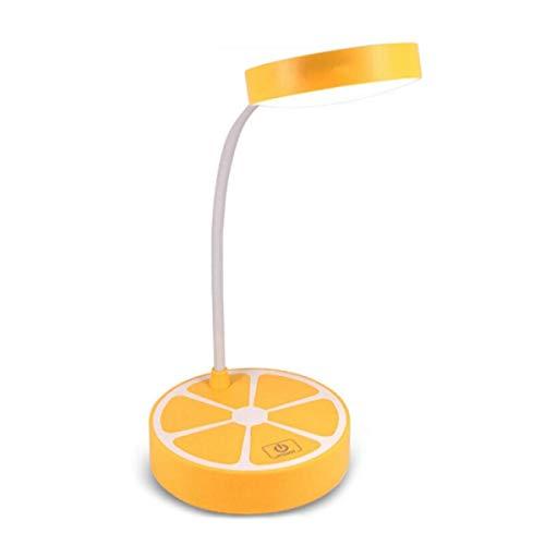 WWWL Lámpara de escritorio Limón LED Touch Switch Flexo Lámpara de escritorio 3 niveles atenuación recargable Protección ocular Luz de lectura USB Led Lámparas de mesa 3 colores amarillo