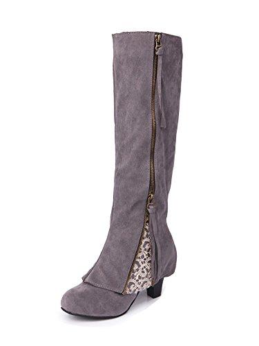 Minetom Basic Damen Overknees | Schleifen Stiefel Velours | Samt Schuhe Flach | Langschaftstiefel | Overknee Boots Blockabsatz Grau EU 38