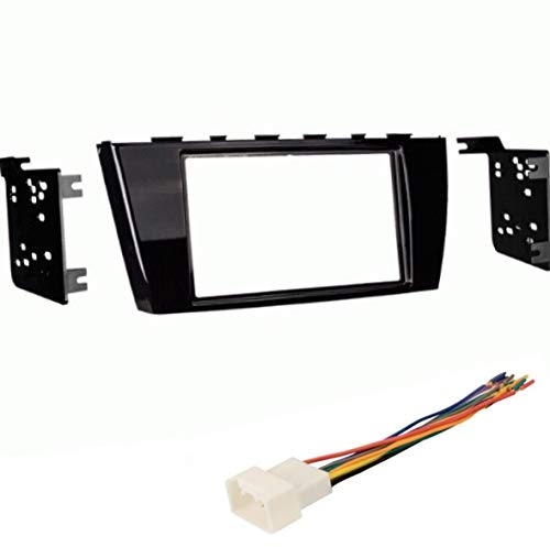 Car Stereo Dash Mount Kit and Wire Harness Combo to Install a Double Din Size Aftermarket Radio for 2014 2015 2016 2017 Mitsubishi Mirage (No 2017 7 inch Touchscreen)