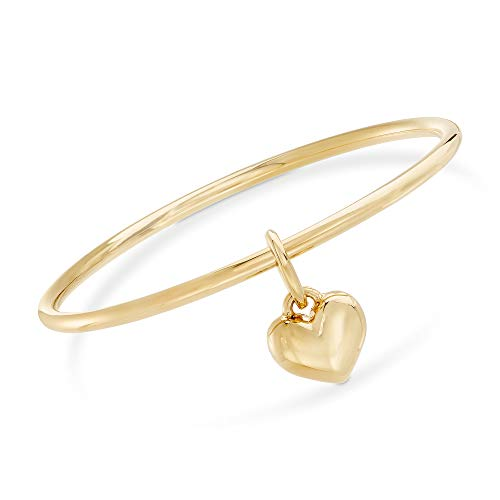 Ross-Simons Italian Andiamo 14kt Yellow Gold Heart Charm Bangle Bracelet