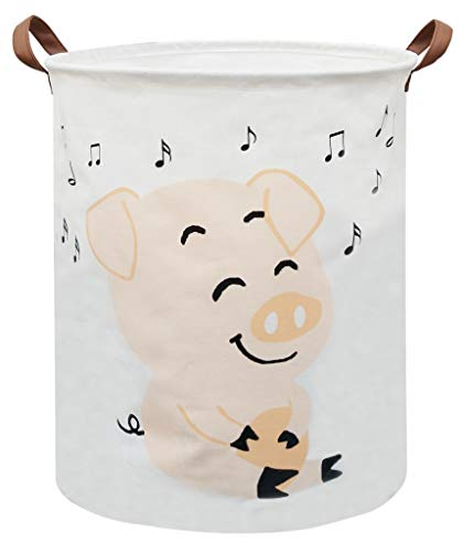 Sanjiaofen Laundry Hamper,Canvas Fabric Laundry Basket,Collapsible Storage Bin Waterproof Toy Organizer Bin for Home,Office, Bedroom, Clothes,Toys,Clothes Hamper(Music Pig)