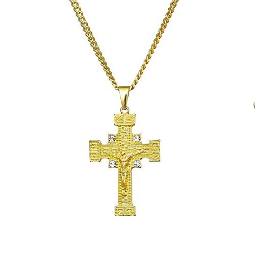 TTbaoz Collar de Cadena con Colgante de Cruz de Jesús para Hombres y Mujeres, joyería de Cristal de Moda, Regalos de Boda