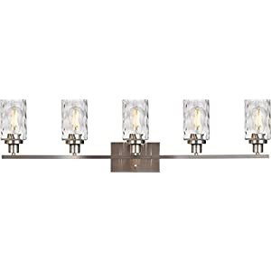 Banato Lighting 5-Light Bathroom Light Fixtures Brushed Nickel Vanity Lights with Hammered Glass Shade, Modern Wall Lights for Living Room Bedroom Hallway