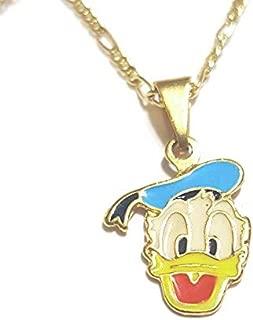 18K gf Donald Duck Pendant Necklace