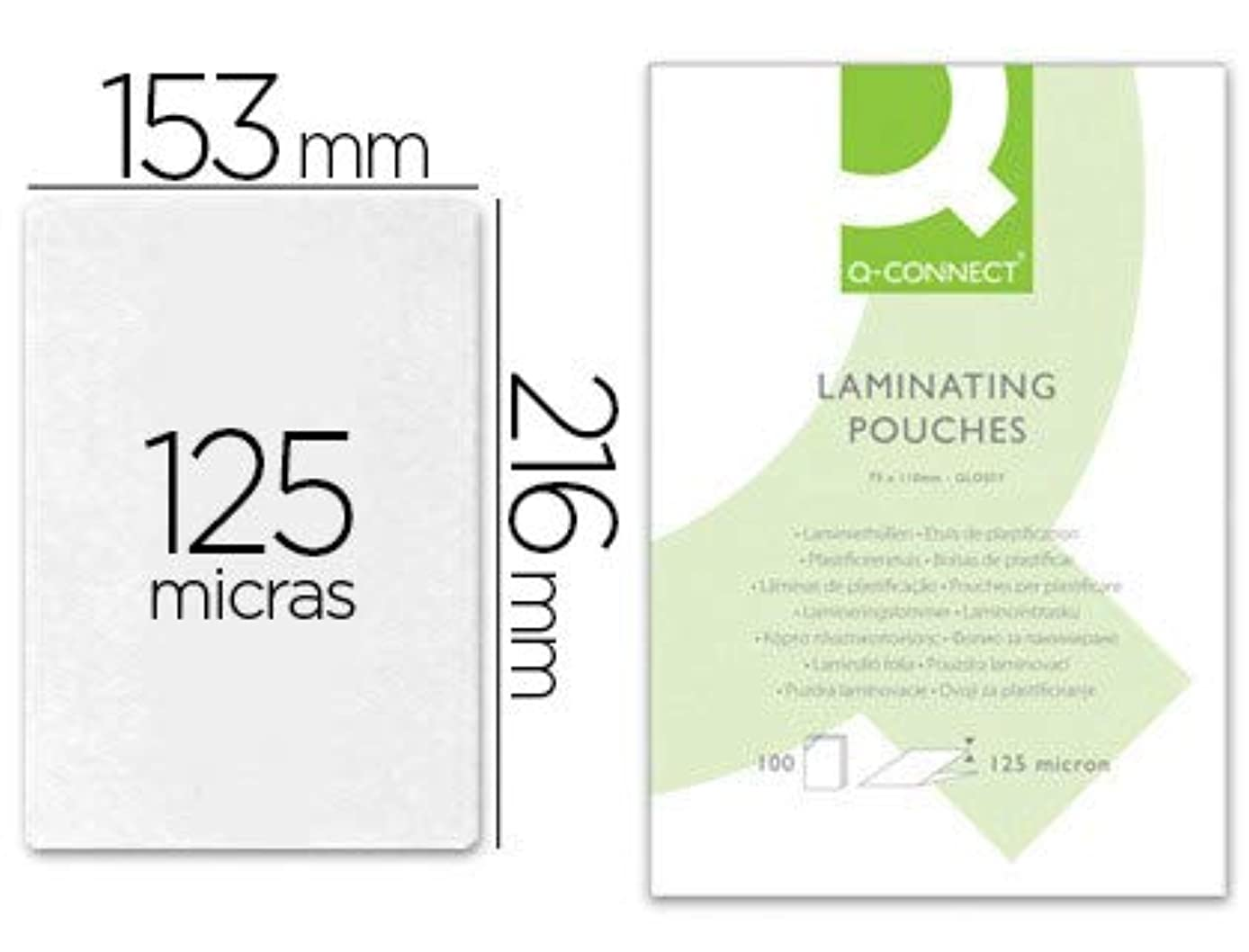 Q-Connect 85793 A5 Anti-Static Laminating Pouch with 125 Micron Adhesive Spine - Assorted (Pack of 25)