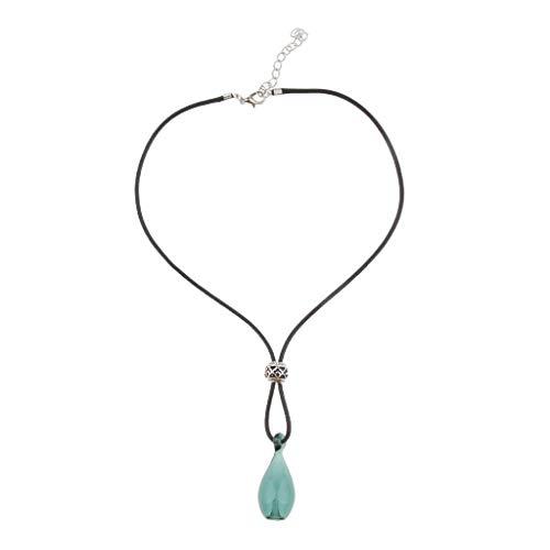 Cxjff - Colgante de botella de cristal con difusor de aceites esenciales para mujer, cadena para suéteres, bolsos azul (Lake Blue)