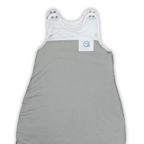 VABY – Baby Schlafsack, OEKO-TEX ®, aus Baumwolle und Bambus, Ganzjahres Schlafsack, Babyschlafsack verstellbar, für Neugeborene bis zu max. 2 Jahren, mitwachsend, Junge und Mädchen, 2.5 TOG (Grau)