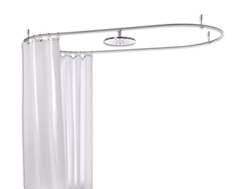 PHOS Edelstahl Design, DSO1700-700, 170x70 cm, ovale Duschvorhangstange, inkl. 4 Deckenabhängungen, echter Edelstahl geschliffen, Badewanne, rund, oval, Duschring, dünn, Duschstange, Badewannenstange