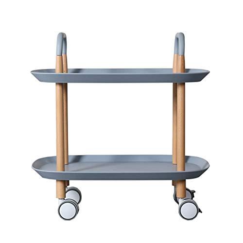 ZHFZD kleine draagbare wagen, 2-laags eetverzorgingwagen voor de keuken aan tafel (kleur: grijs) Size blauw