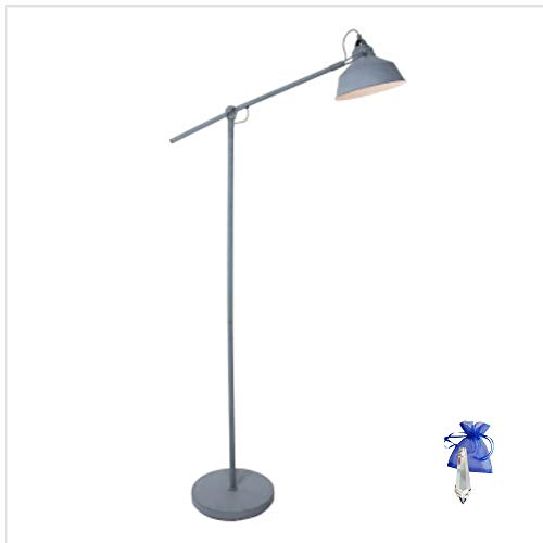 Stehleuchte Grau Matt E27 Vintage Industrielampe Standleuchte Stehlampe im Retro Industrie Design Bürolampe 230V 1322GR + Giveaway