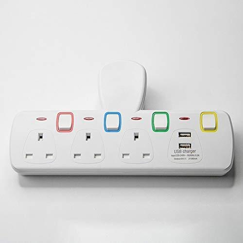 AYDQC Enchufe eléctrico de Caja de zócalo con enchufes de múltiples Paredes Puertos USB Power Strip de Power Strip de la extensión Interruptores Individualmente. fengong