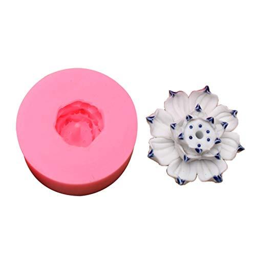Yushu Budismo - Soporte para varillas de incienso (resina, 3D, diseño de flor de loto y cenizas, atrapador de cenizas, resina epoxi, kits de resina de silicona, moldes colgantes