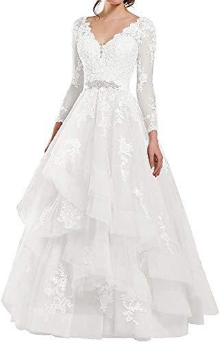 HUINI Abendkleider Lang Prinzessin Ballkleid Hochzeitskleid Spitzen Brautkleid Strand Vintag Brautmode Elfenbein 34