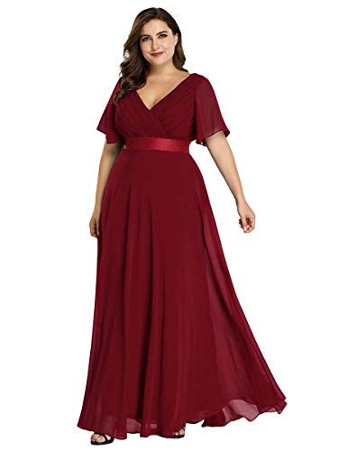 Alisapan Elegant Evening Gowns Chiffon Plus Size Mother of The Bride Dresses Burgundy US12