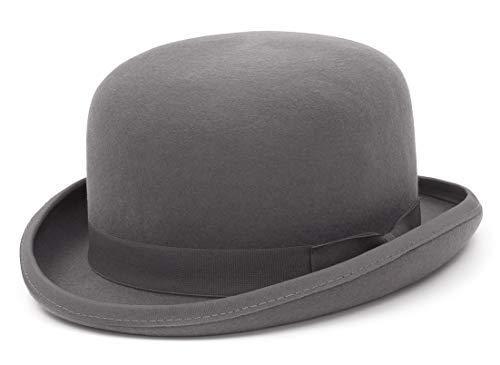 Jelord Sombrero Bombín Clásico Negro Sombrero de Copa Redonda de Lana 100% Sombrero Fieltro Gorras Jazz 4 Tamaños con Forro de Satén (Talla S a XL) Color Negro