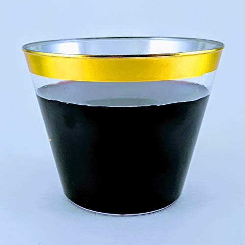 Gold Rim Plastic Cups. 100 pack/9 oz, clear golden rimmed cup for cocktail, wine and water.  Fancy disposable tumblers for parties, weddings, and special celebrations.