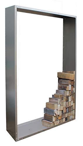 Palatino Woodpecker Étagère en Bois de cheminée Acier 100 x 120 cm - Profondeur 40 cm