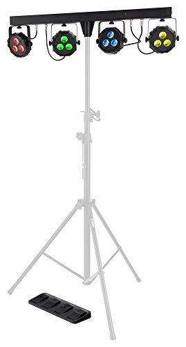 Showlite LB-427 LED RGB Lichtanlage - vier PAR-Spots mit je 3 St. 9W LEDs - steuerbar via DMX 512, Wireless-Fußpedal oder manuell, inkl. Transporttasche und Fußfernsteuerung