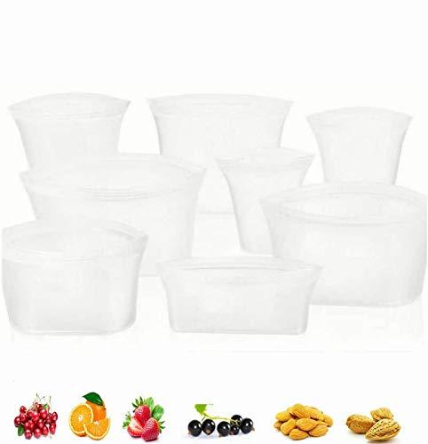QWEWQE 8 Stück Reusable Silicone Food Storage Bag, Stand Up Leakproof Cup Storage Silicone Snackbeutel, Zip Top Leakproof Gefrierbeutel für Obst, Sandwiches, Gemüse (Weiß)