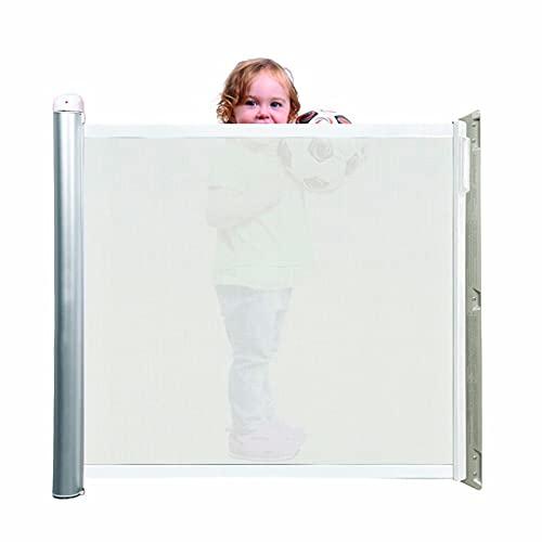 Lascal KiddyGuard Accent, Barrière de sécurité enfants élégante, Barrière de porte en toile avec boîtier en aluminium, Barrière extensible jusqu'à 100 cm, blanche