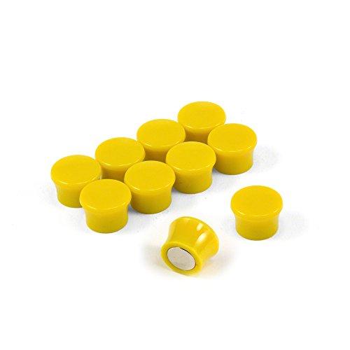 Magnet Expert® F4M18Y-10 Petit Jaune Puissance « Memo » Conseil aimants-Bureau & frigo (17,5 mm dia x 12,3 mm de Hauteur) Paquets de 10, Argent