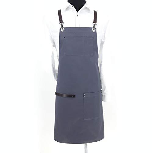 APRONISTA schort/kookschort, BBQ-schort en slabschort ideaal voor barista, barkeepers, bloemist, bakker, kapper – van katoen en rundleer – gemaakt in de EU