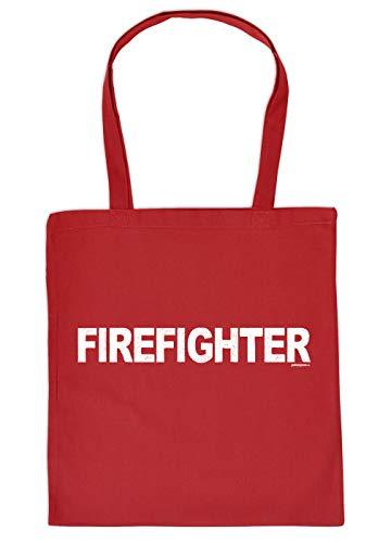 Feuerwehr-Sprüche/Statement Trage-Einkaufstasche/Stoffbeutel mit Druck: Firefighter