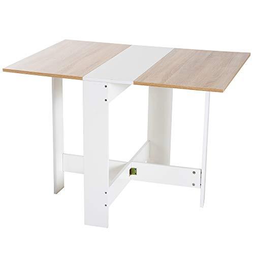 HOMCOM Mesa Plegable Cocina Salon Mesa Auxiliar con 2 Alas Abatibles Ahorra Espacio Diseno Moderno 103x76x73.5cm Madera