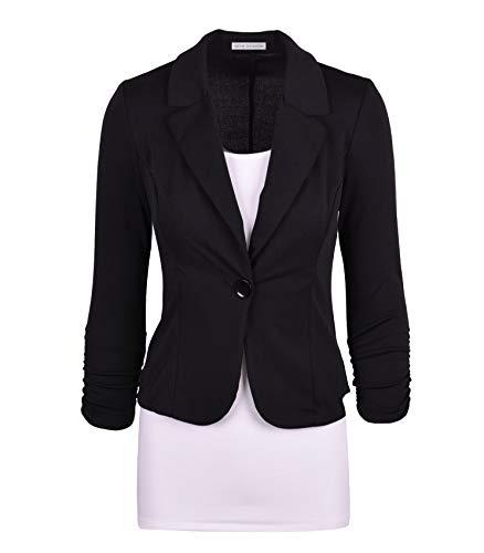 Auliné Collection Women's Casual Work Solid Color Knit Blazer Black Large