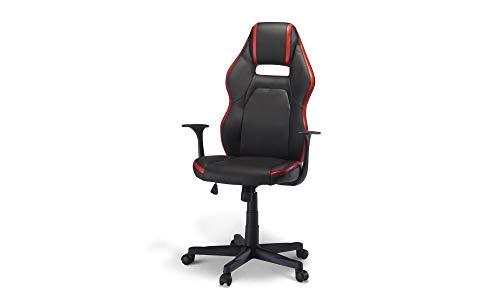 PKline Bürostuhl Spike Gamer Stuhl schwarz + rot Schreibtisch Drehstuhl Chef Sessel