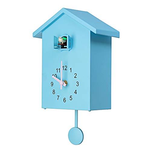 ERGGQAQ Kuckuck Wanduhr, Moderne Kuckucksuhr mit Vogelstimmen oder Kuckucksanruf, Vogelhaus, für Wohnzimmer, Kinder Schlafzimmer, Küche, Büro,Blau