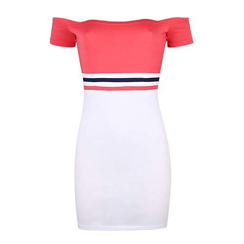 La primavera y el verano de la moda de las mujeres falda corta de una palabra hombro abierto espalda abierta sexy vestido de cadera