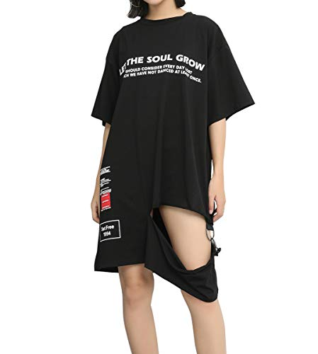 ELLAZHU El veran Negro Carta Camiseta Vestido Midi GY1781