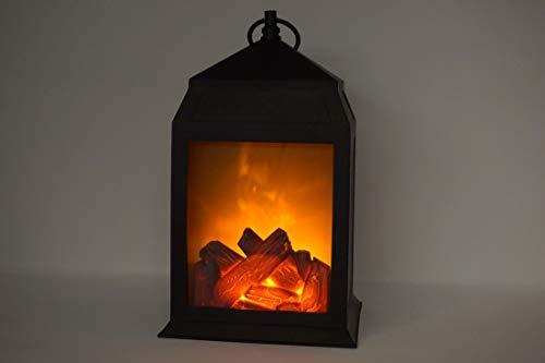 CBK-MS. LED Deko Laterne Kamin Flammen Optik Feuereffekt Batteriebetrieb 29 cm
