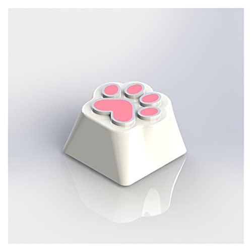 Keycap Set Keycap Funda de teclado mecánica personalizada de aleación de aluminio de zinc transparente de una sola flor de cerezo Keycaps lindos Fateggs (color : pata de gato)