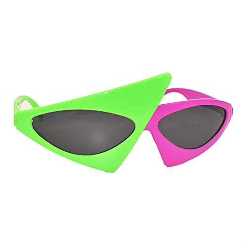 Gafas de Ojo de Gato de Fiesta de Moda para Hombres Mujeres Hip Hop Único Rosa Verde Gafas de Sol Festival de música Triángulo Fungle Glasses (Color : 1, Size : K)