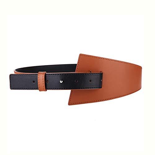 Cinturón Elástico Para Ropa Cinturón de cuero Decoración de damas Cuero de vaca Amplio Caja de la faja exterior con capa de falda Cinturón All-Patch Cinturón Vintage ( Color : Brown , Size : 102cm )
