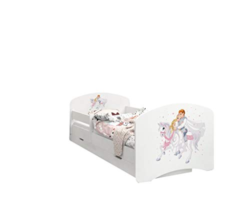 Happy Babies - LIT d'enfant Double Face avec TIROIR Design Moderne avec Bords sécurisés et Matelas en Mousse antichute 7 cm (Prince sur Cheval Blanc, 180x90)