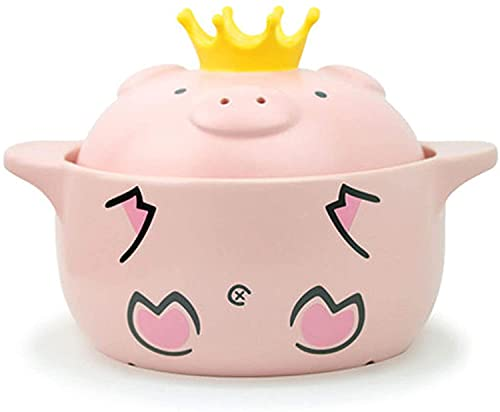 Cute ceramic stone bowl with cover, used for cooking hot pot, bibimbap and soup, pink pig pot,Hand-painted ceramic casserole(1600ML)