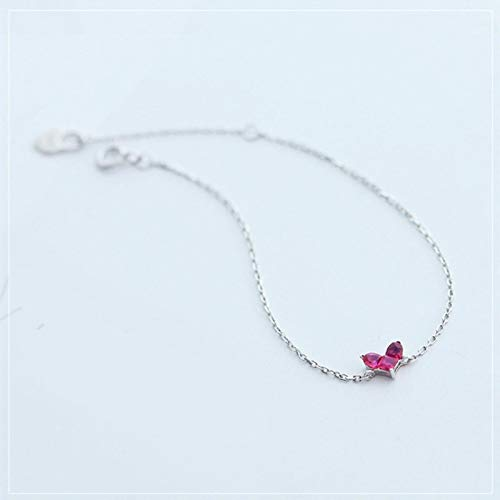 Pulsera de plata de ley 925 con temperamento para mujer, diseño de rosa