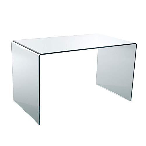 Qriosa Stile Italiano MOD Made in Italy 50x50 H71 Wind: Tavolino Servetto da Salotto in Vetro Curvato