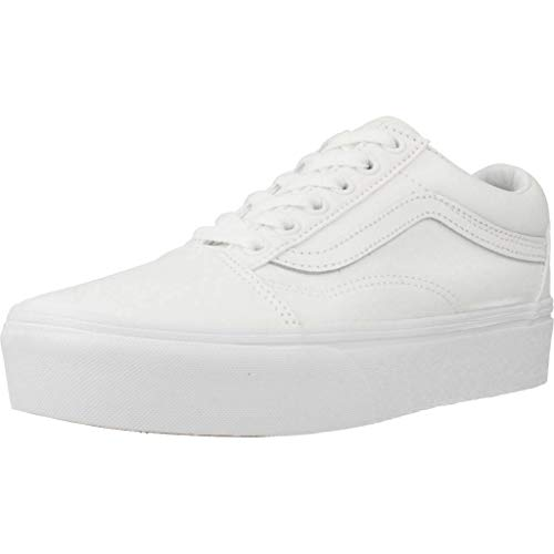 Vans UA Old Skool Platform Sneakers Femmes Bianco - 40 - Sneakers Basse