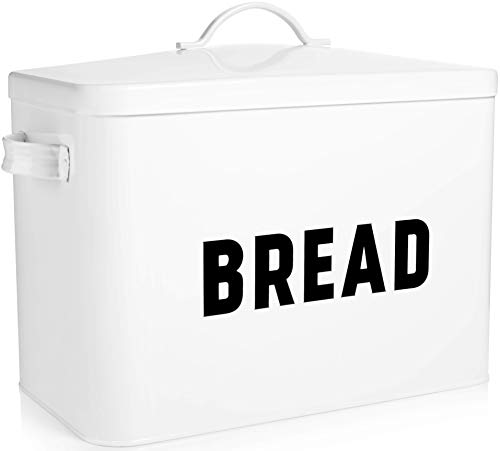 Bread Box for Kitchen Countertop - Extra Large Keeps 2+ Loaves Fresh - White Metal Bread Box Storage Bin for Farmhouse Kitchen