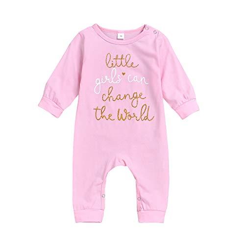 KUDICO Combinaison Enfant Bébé Unisexe en Coton Bodys à Manches Longues Little Grils Can Change The World