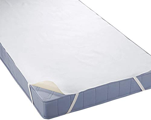 """4mybaby Special Technique Mattress Protector Waterproof Bed Liner Molton (100% Cotton) 60x120Ã'Â cm up to 220x200Ã'Â cmÀ""""9Ã'Â Sizes Available, Fabric, White, 180 x 200 by 4myBaby GmbH"""