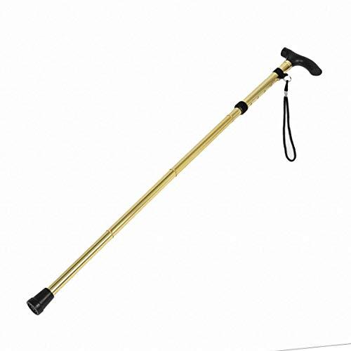 Trekking Pole pour l'escalade Bâton de Marche Pliable Ajustable Pliant Anti-dérapant Portable avec poignée en T Confortable pour l'extérieur (Color : Gold)